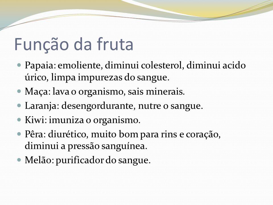 Função da fruta Papaia: emoliente, diminui colesterol, diminui acido úrico, limpa impurezas do sangue.