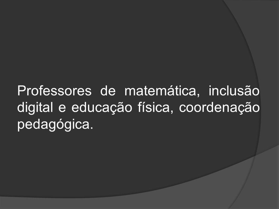 Professores de matemática, inclusão digital e educação física, coordenação pedagógica.
