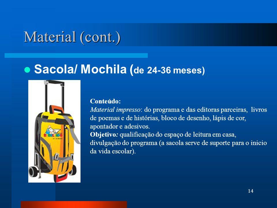 Material (cont.) Sacola/ Mochila (de 24-36 meses) Conteúdo: