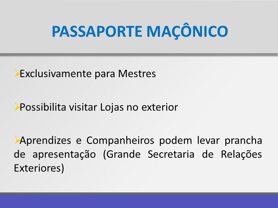 PASSAPORTE MAÇÔNICO Exclusivamente para Mestres