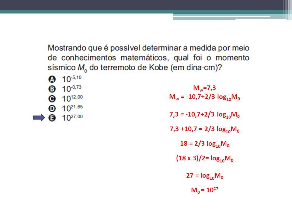 Mw=7,3 Mw = -10,7+2/3 log10M0. 7,3 = -10,7+2/3 log10M0. 7,3 +10,7 = 2/3 log10M0. 18 = 2/3 log10M0.