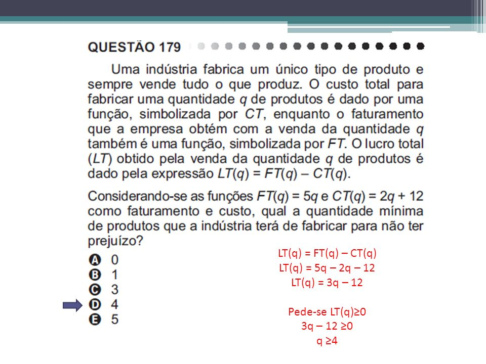 LT(q) = FT(q) – CT(q) LT(q) = 5q – 2q – 12 LT(q) = 3q – 12 Pede-se LT(q)≥0 3q – 12 ≥0 q ≥4