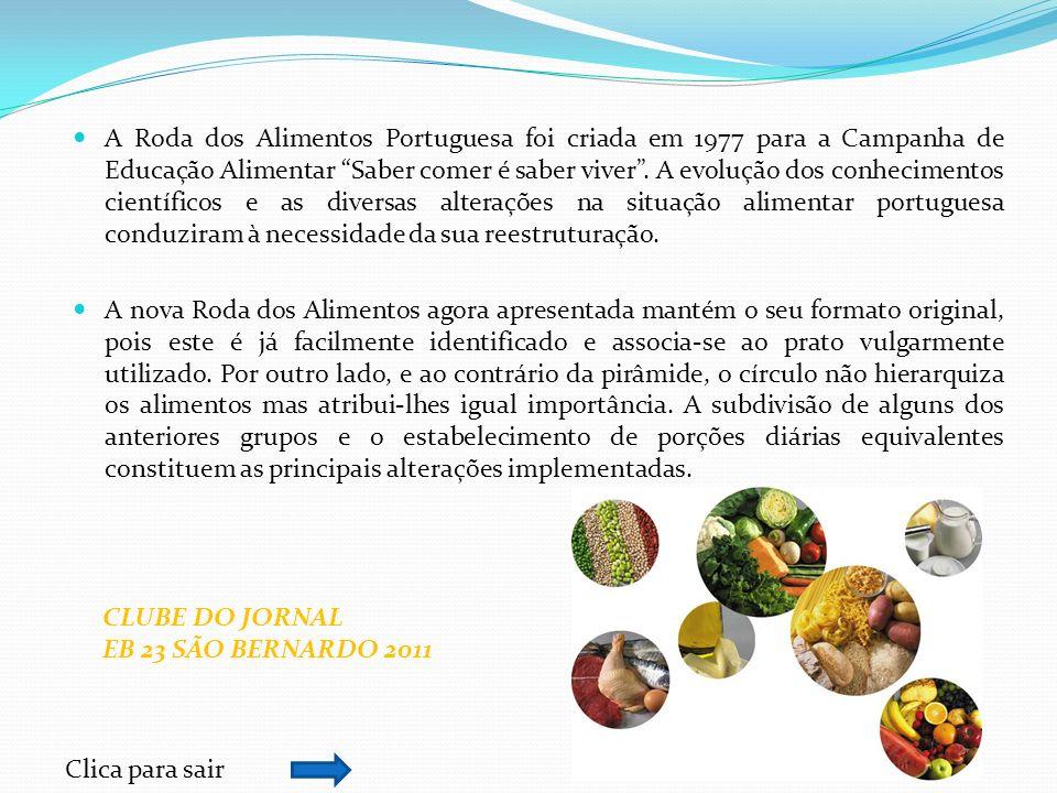 A Roda dos Alimentos Portuguesa foi criada em 1977 para a Campanha de Educação Alimentar Saber comer é saber viver . A evolução dos conhecimentos científicos e as diversas alterações na situação alimentar portuguesa conduziram à necessidade da sua reestruturação.