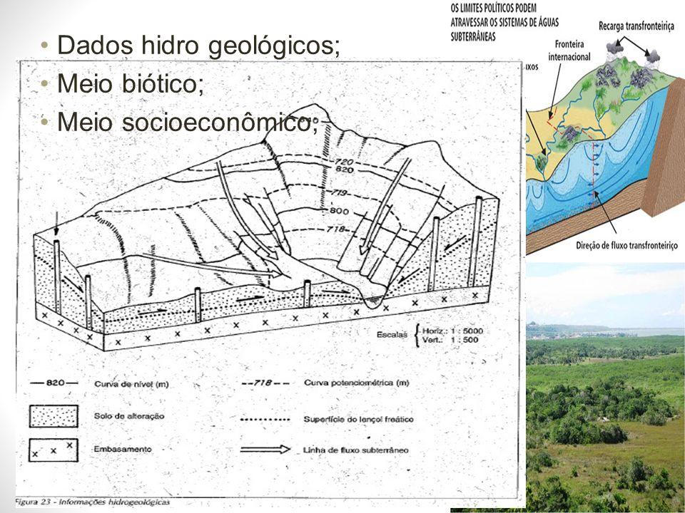 Dados hidro geológicos;