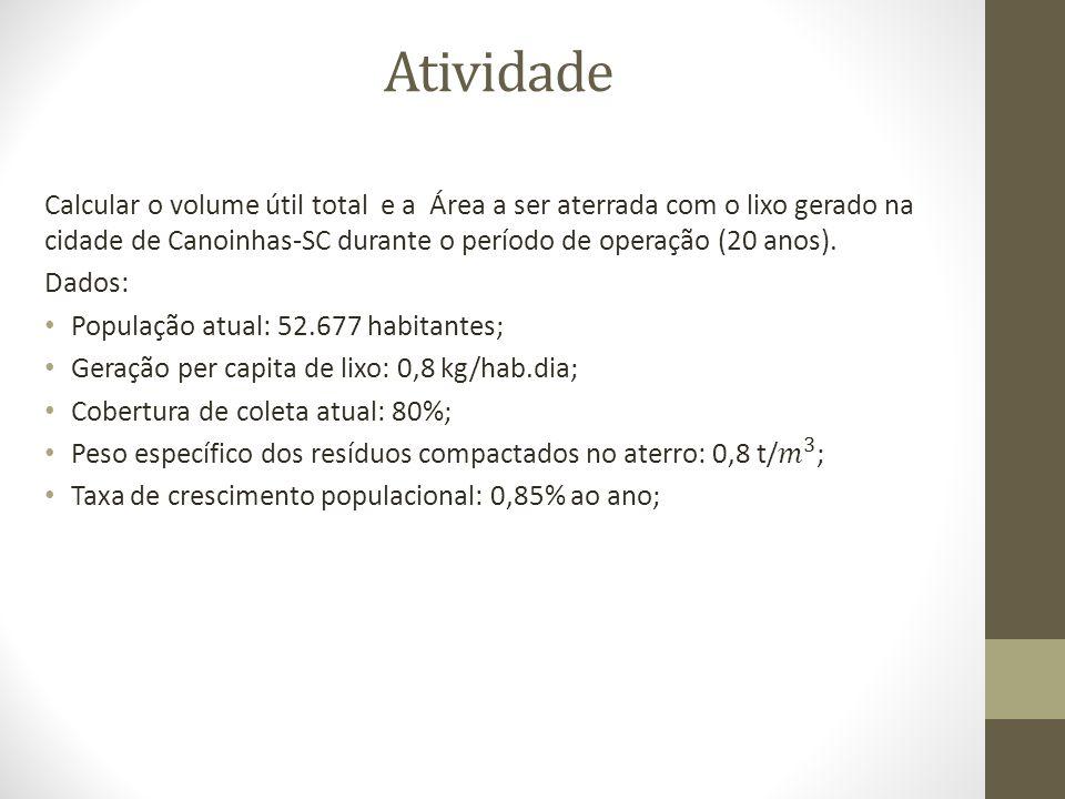 Atividade Calcular o volume útil total e a Área a ser aterrada com o lixo gerado na cidade de Canoinhas-SC durante o período de operação (20 anos).