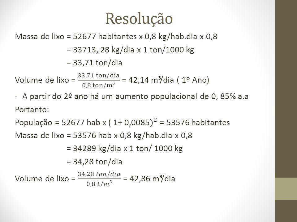 Resolução Massa de lixo = 52677 habitantes x 0,8 kg/hab.dia x 0,8