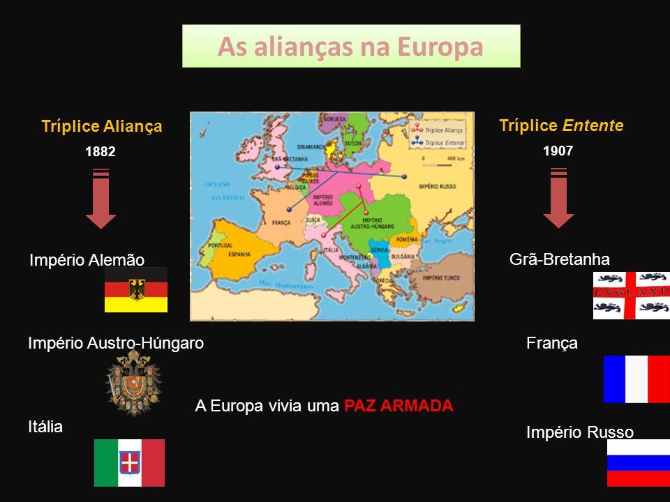 As alianças na Europa Tríplice Aliança Tríplice Entente Império Alemão