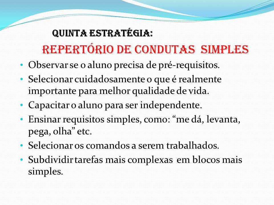 Quinta estratégia: Repertório de condutas simples. Observar se o aluno precisa de pré-requisitos.