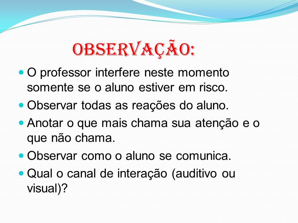 Observação: O professor interfere neste momento somente se o aluno estiver em risco. Observar todas as reações do aluno.