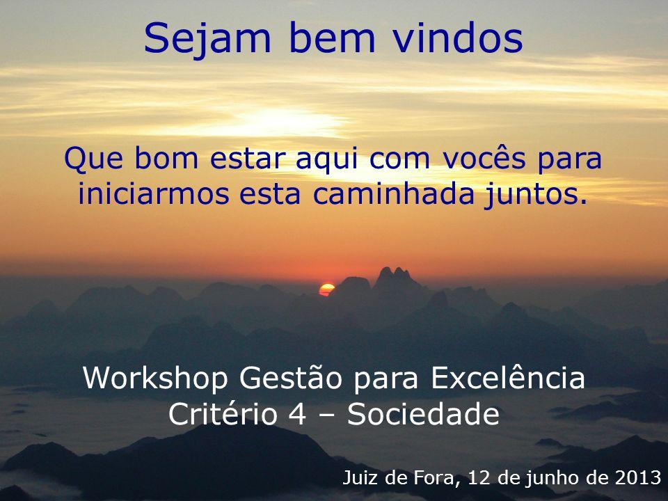 Sejam bem vindos Que bom estar aqui com vocês para iniciarmos esta caminhada juntos. Workshop Gestão para Excelência.
