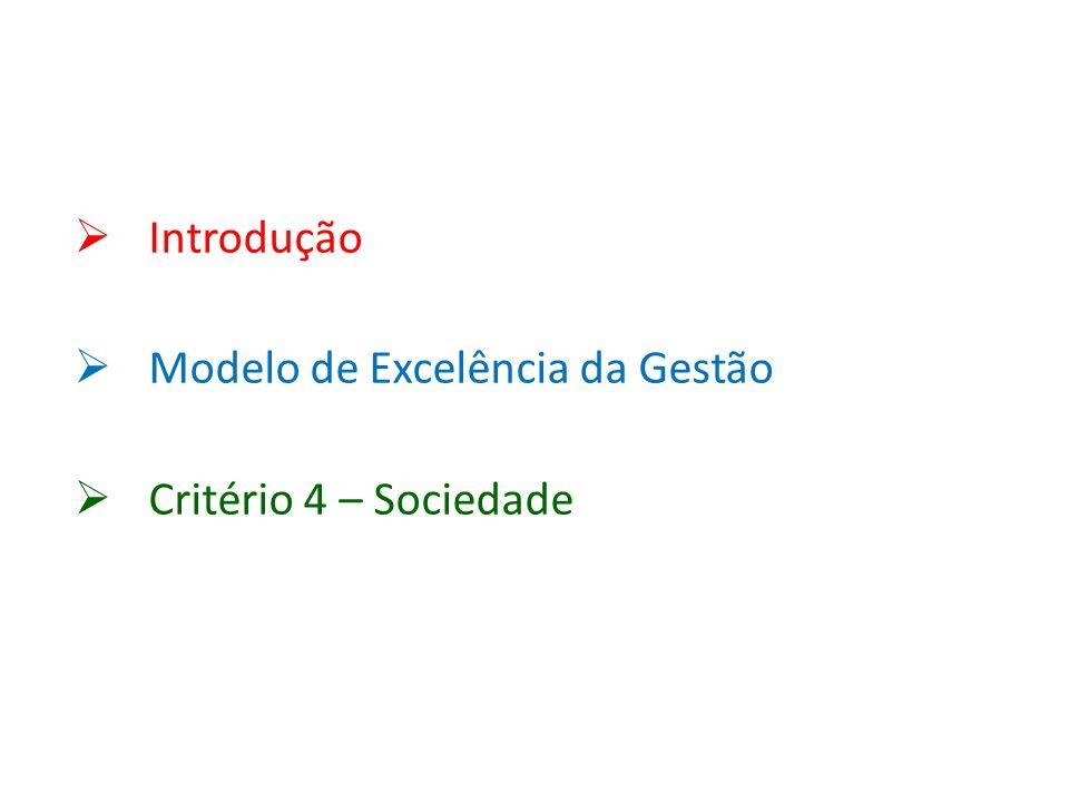 Introdução Modelo de Excelência da Gestão Critério 4 – Sociedade