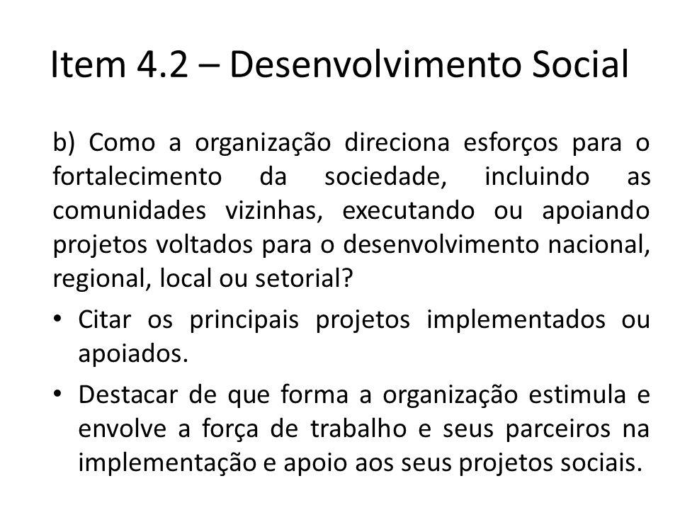 Item 4.2 – Desenvolvimento Social