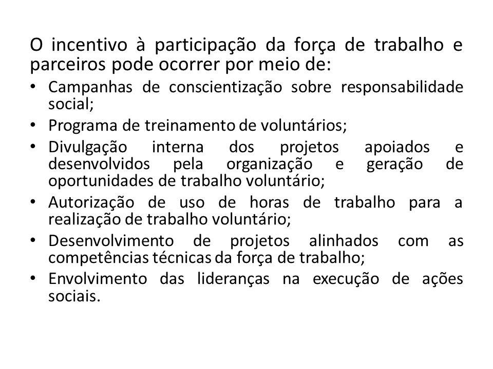 O incentivo à participação da força de trabalho e parceiros pode ocorrer por meio de: