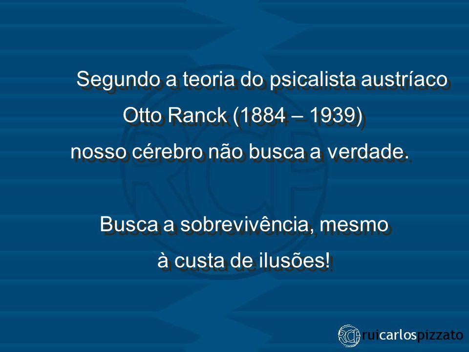 Segundo a teoria do psicalista austríaco Otto Ranck (1884 – 1939) nosso cérebro não busca a verdade.