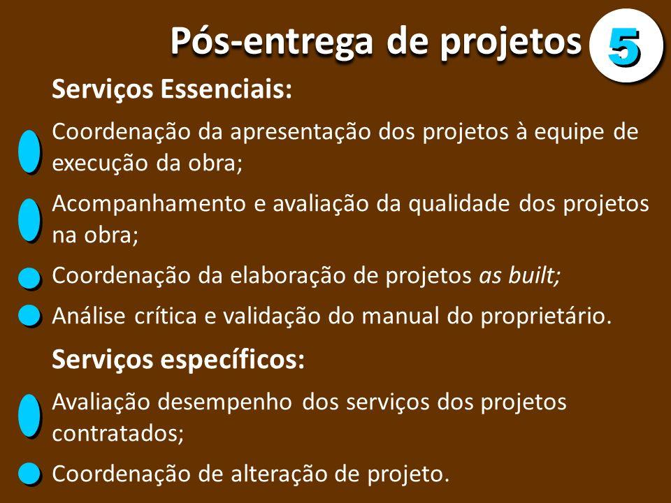 5 Pós-entrega de projetos Serviços Essenciais: Serviços específicos: