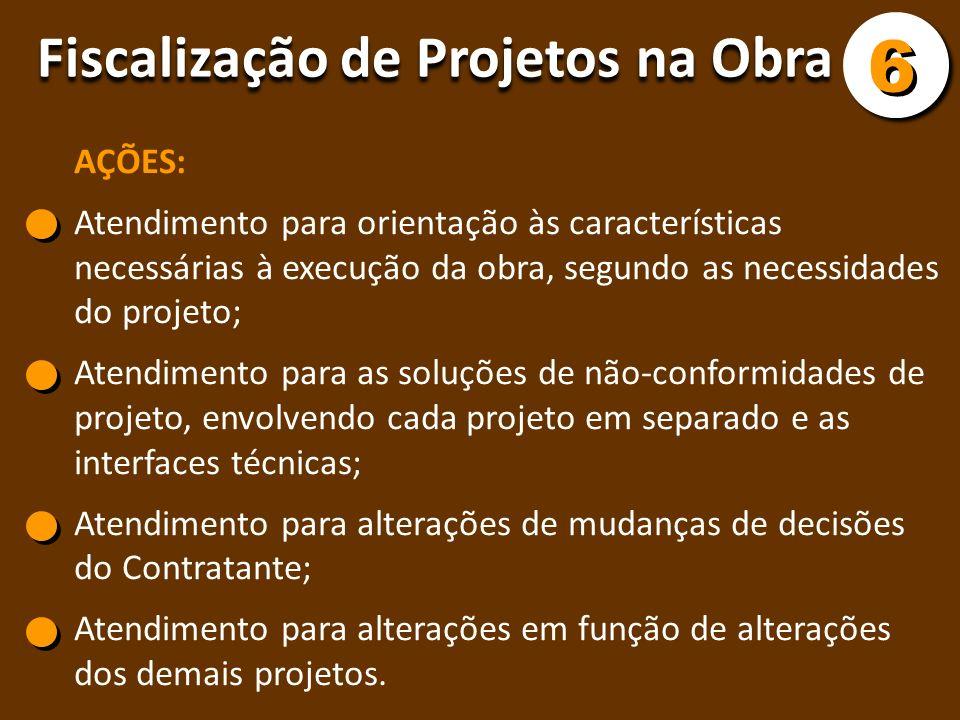6 Fiscalização de Projetos na Obra AÇÕES: