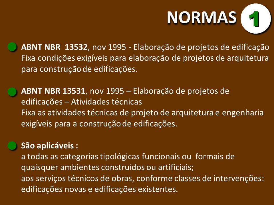 NORMAS 1. ABNT NBR 13532, nov 1995 - Elaboração de projetos de edificação.