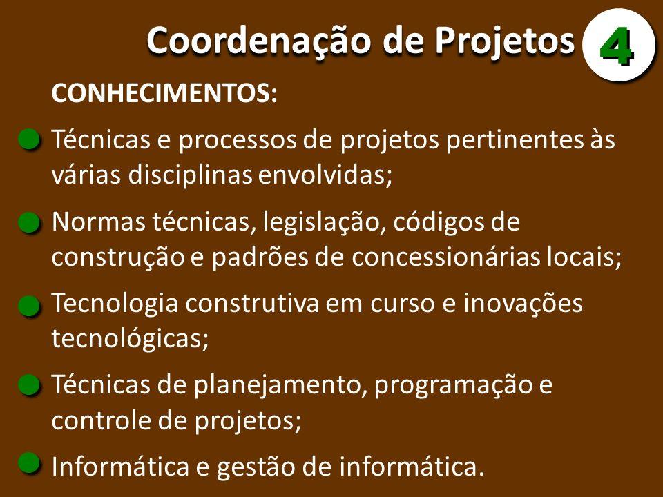 4 Coordenação de Projetos CONHECIMENTOS: