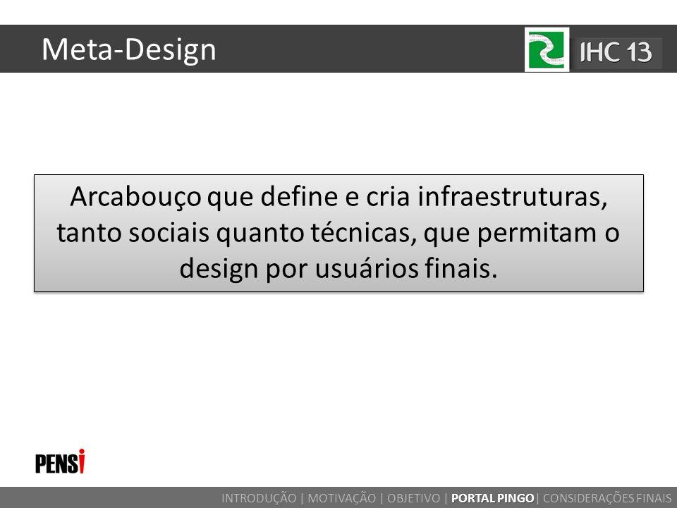 Meta-Design Arcabouço que define e cria infraestruturas, tanto sociais quanto técnicas, que permitam o design por usuários finais.