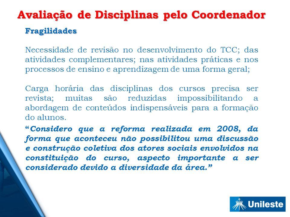 Avaliação de Disciplinas pelo Coordenador
