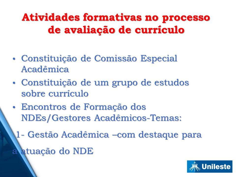 Atividades formativas no processo de avaliação de currículo