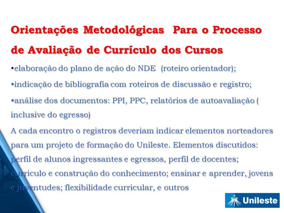 Orientações Metodológicas Para o Processo de Avaliação de Currículo dos Cursos