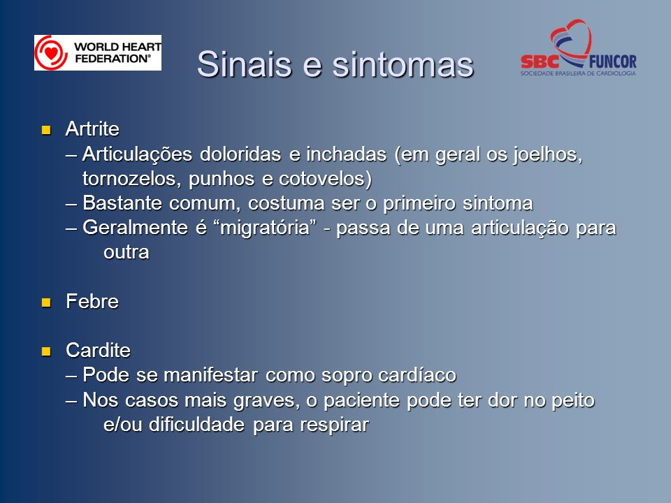 Sinais e sintomas Artrite