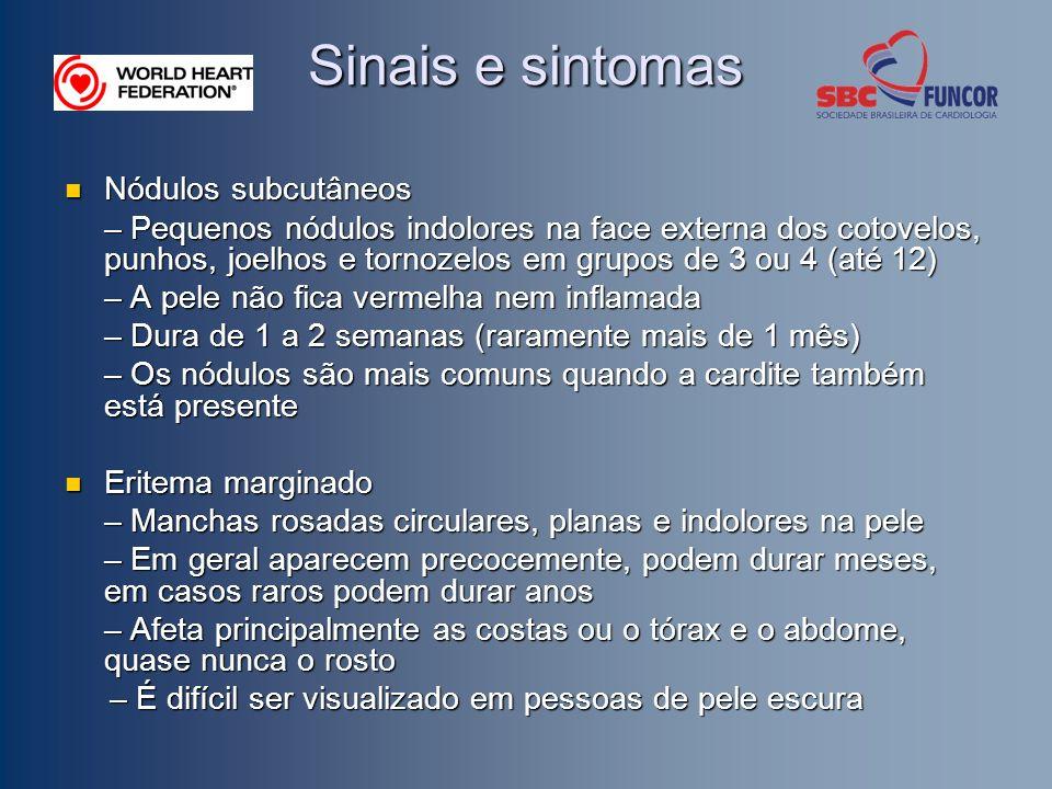 Sinais e sintomas Nódulos subcutâneos