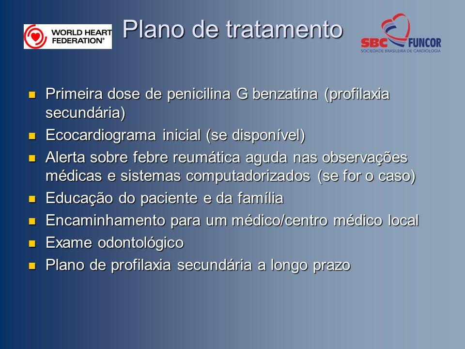 Plano de tratamento Primeira dose de penicilina G benzatina (profilaxia secundária) Ecocardiograma inicial (se disponível)