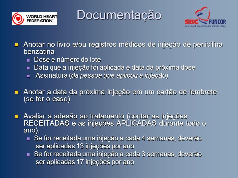Documentação Anotar no livro e/ou registros médicos de injeção de penicilina benzatina. Dose e número do lote.