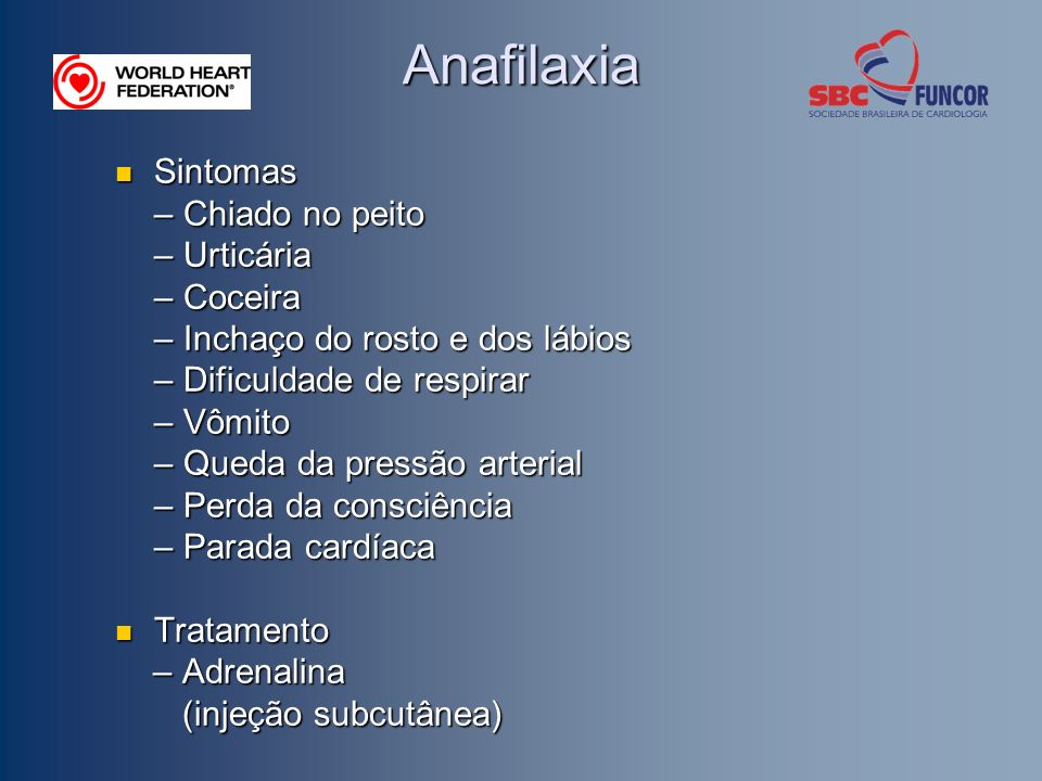 Anafilaxia Sintomas – Chiado no peito – Urticária – Coceira