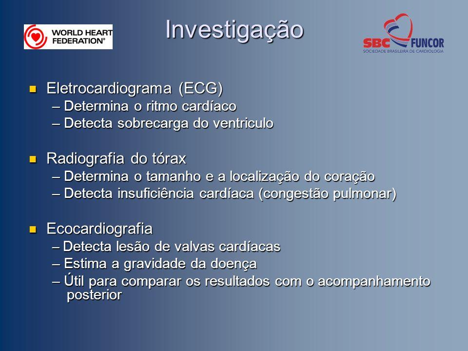Investigação Eletrocardiograma (ECG) Radiografia do tórax