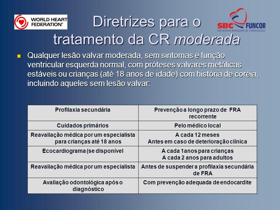 Diretrizes para o tratamento da CR moderada