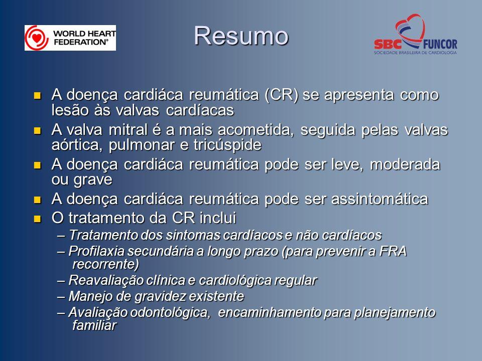 Resumo A doença cardiáca reumática (CR) se apresenta como lesão às valvas cardíacas.