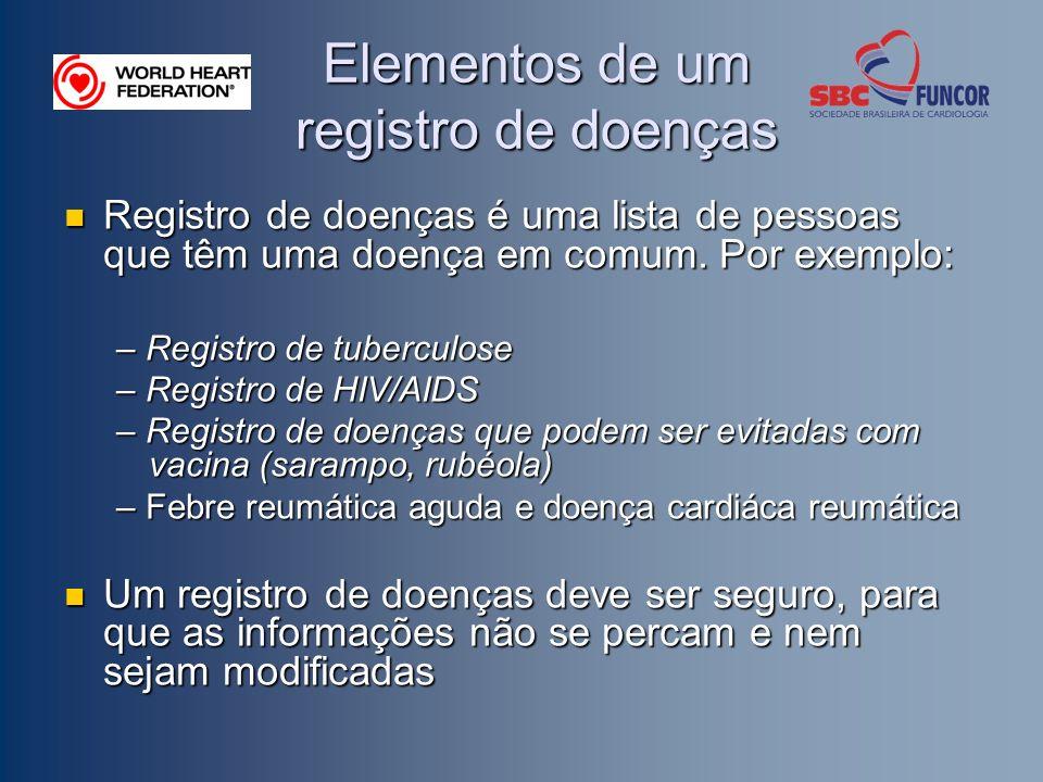 Elementos de um registro de doenças