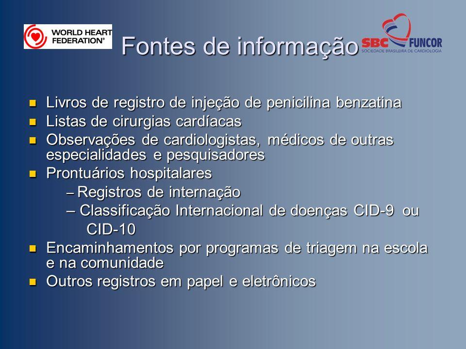 Fontes de informação Livros de registro de injeção de penicilina benzatina. Listas de cirurgias cardíacas.
