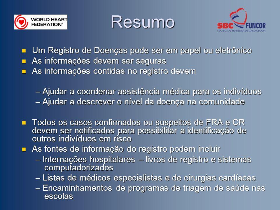 Resumo Um Registro de Doenças pode ser em papel ou eletrônico