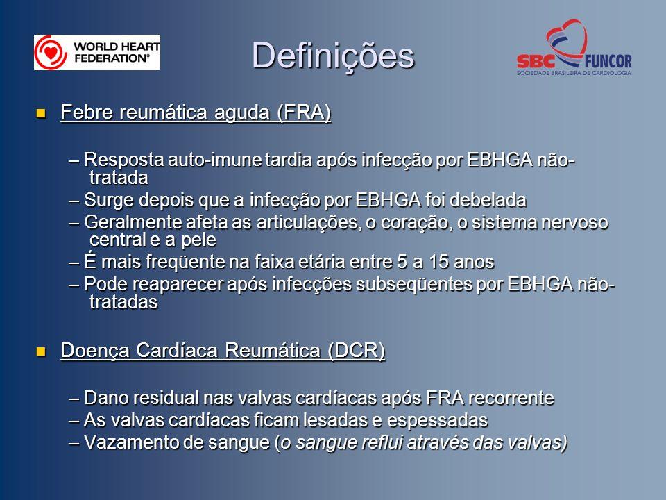 Definições Febre reumática aguda (FRA) Doença Cardíaca Reumática (DCR)