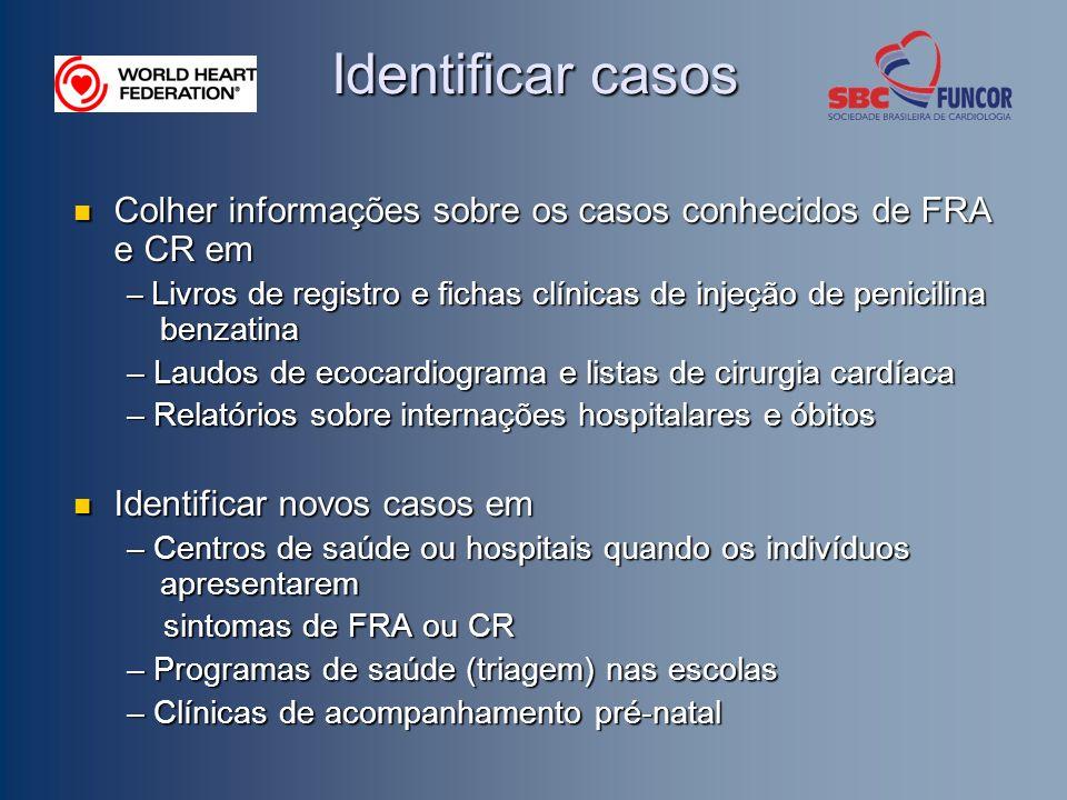 Identificar casos Colher informações sobre os casos conhecidos de FRA e CR em.