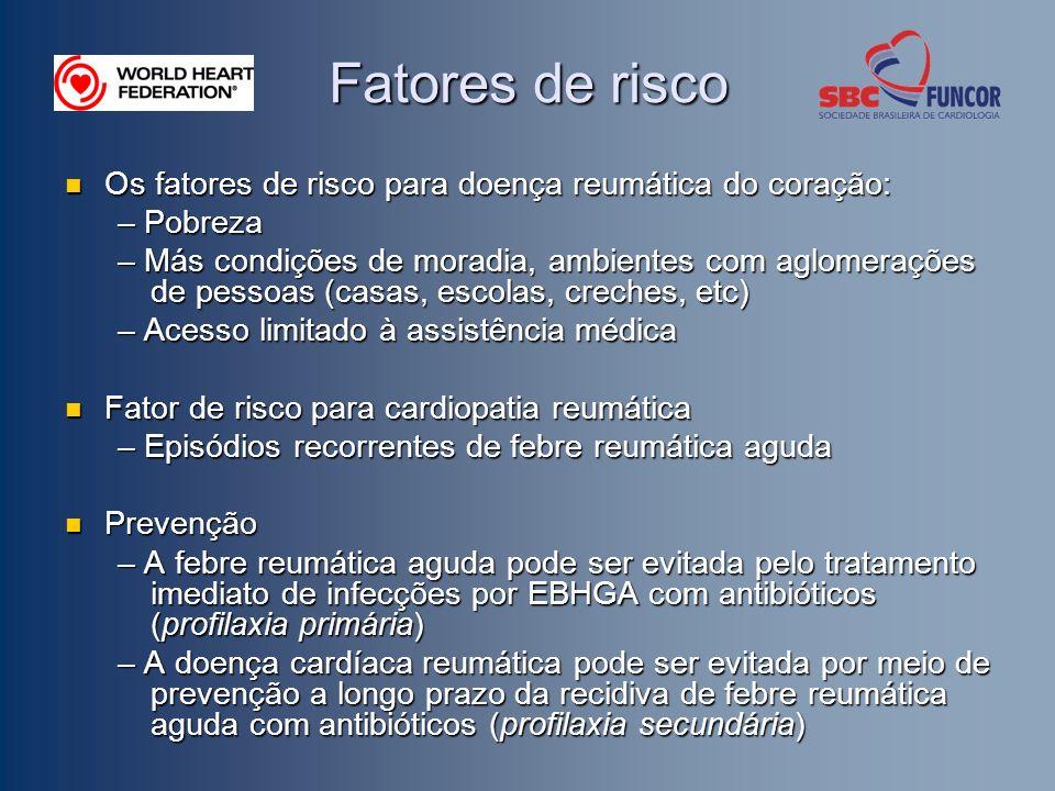 Fatores de risco Os fatores de risco para doença reumática do coração: