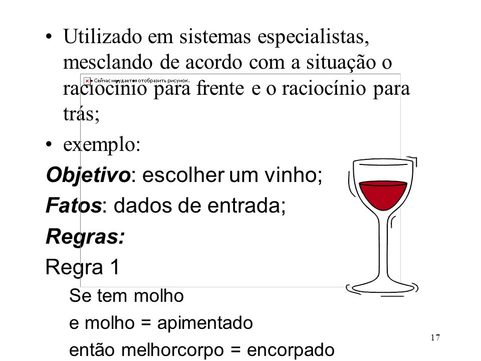 Objetivo: escolher um vinho; Fatos: dados de entrada; Regras: Regra 1