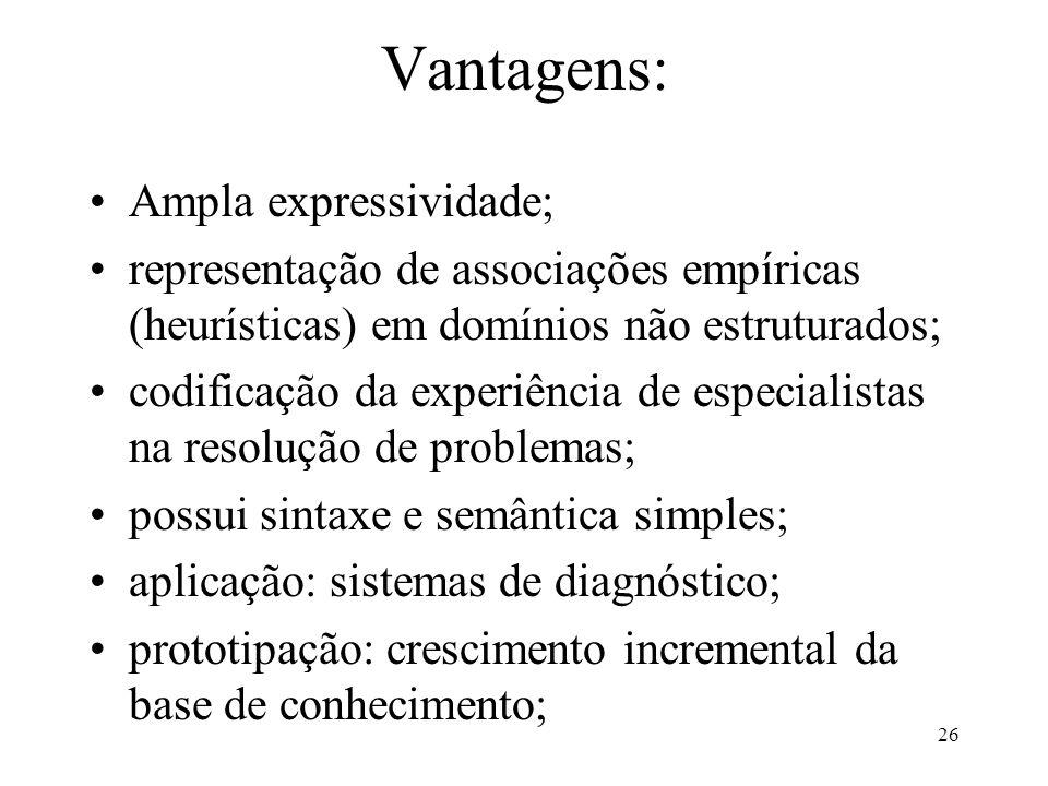 Vantagens: Ampla expressividade;
