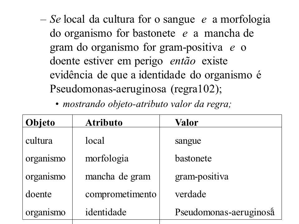 Se local da cultura for o sangue e a morfologia do organismo for bastonete e a mancha de gram do organismo for gram-positiva e o doente estiver em perigo então existe evidência de que a identidade do organismo é Pseudomonas-aeruginosa (regra102);
