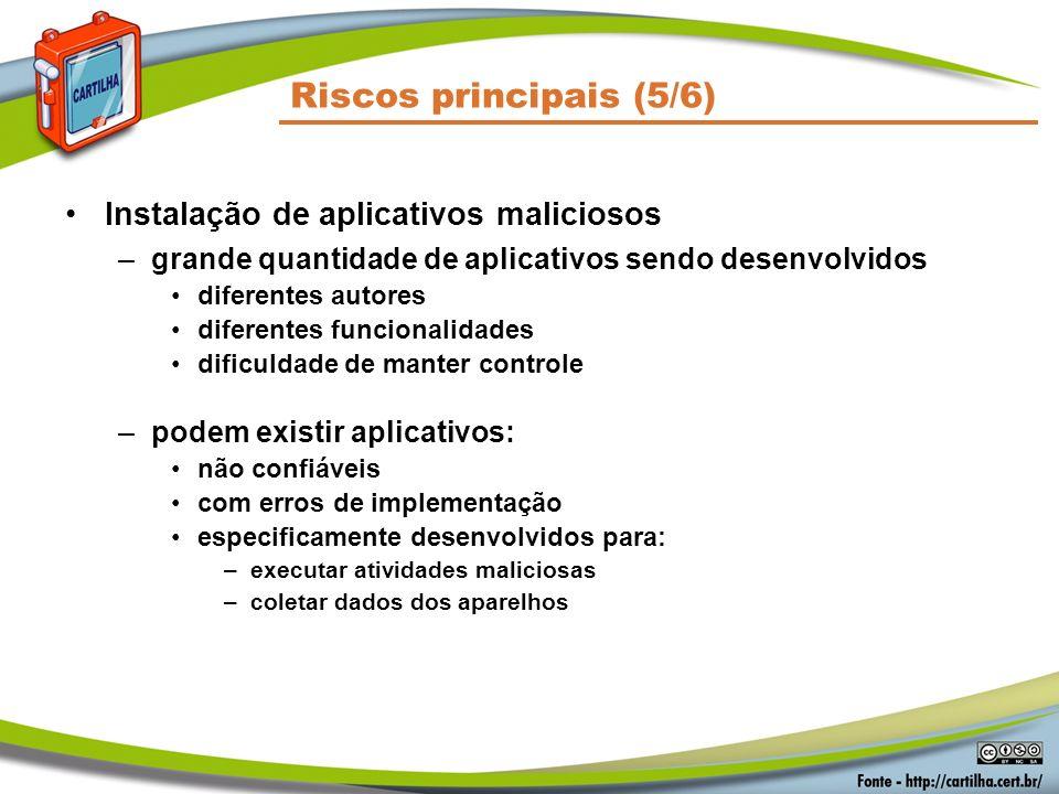 Riscos principais (5/6) Instalação de aplicativos maliciosos