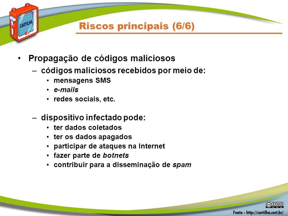 Riscos principais (6/6) Propagação de códigos maliciosos