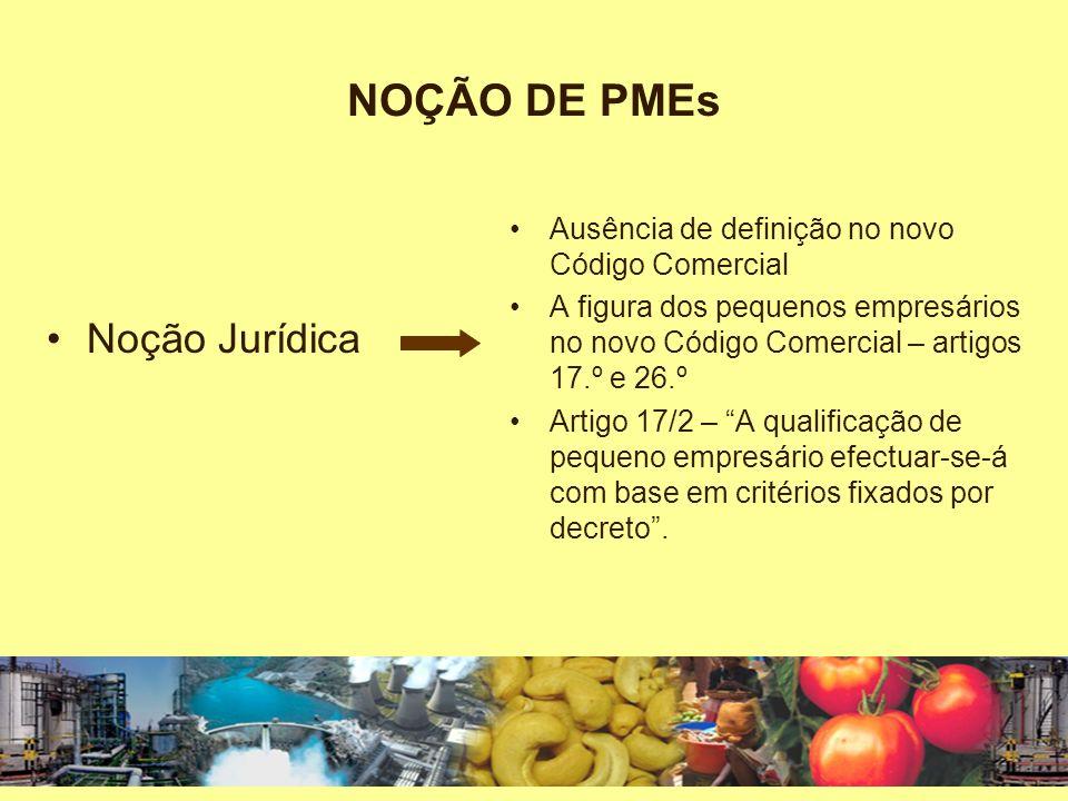 NOÇÃO DE PMEs Noção Jurídica
