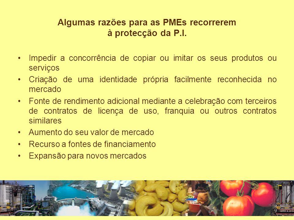 Algumas razões para as PMEs recorrerem à protecção da P.I.