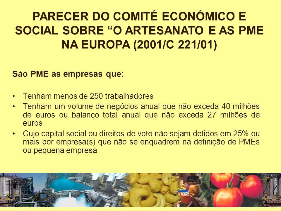 PARECER DO COMITÉ ECONÓMICO E SOCIAL SOBRE O ARTESANATO E AS PME NA EUROPA (2001/C 221/01)