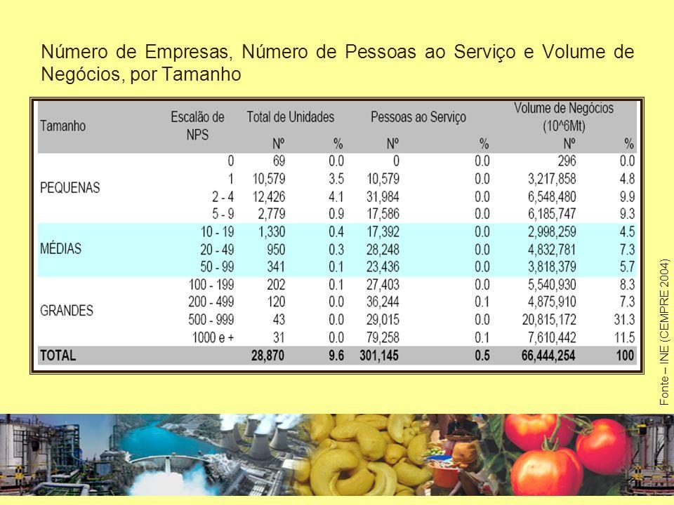 Número de Empresas, Número de Pessoas ao Serviço e Volume de Negócios, por Tamanho