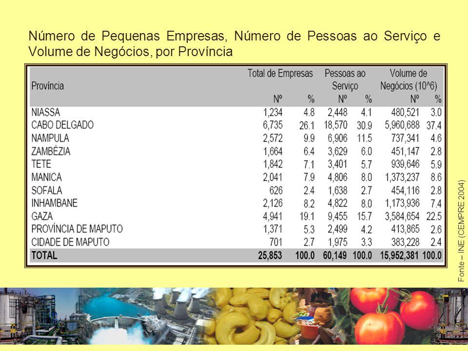 Número de Pequenas Empresas, Número de Pessoas ao Serviço e Volume de Negócios, por Província